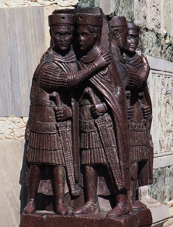 Figure 3: The Tetrarchs, red prphryry, from Constantinople, fourth century, Venice, Italy. http://www.fpa.ysu.edu/~slsmith/ecbyzwebpage/tetrarchs.jpg